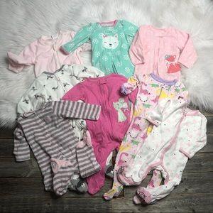 Infant Girls Feetie Pajama Lot 9mo (8 PJs)
